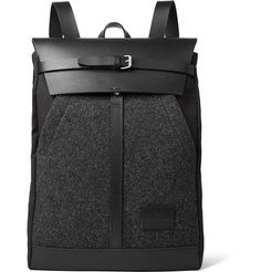 Atelier de L'Armée - Leather-Trimmed Mélange Wool and Canvas Backpack