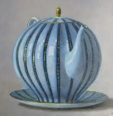 blue ribbed teapot