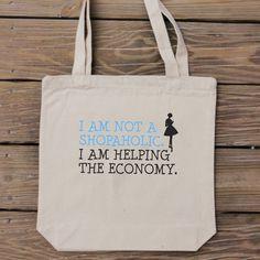 Canvas Tote Bag  I am Not a Shopaholic. I am par HandmadeandCraft, $15.99