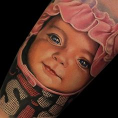 New Baby Face Tattoo People 33 Ideas Face Tattoos, Body Art Tattoos, Cool Tattoos, Portrait Tattoos, Awesome Tattoos, Baby Names Short, New Baby Names, Baby Girl Portraits, Baby's First Haircut