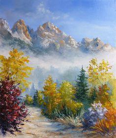 Dessin et peinture - vidéo 1609 : Tuto sur la peinture au couteau - montagne dans la brume 1. - Le blog de lapalettedecouleurs.over-blog.com