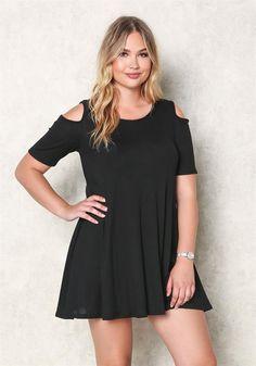 Plus Size Clothing | Plus Size Waffle Knit Cold Shoulder Dress | Debshops