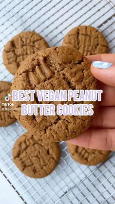 Vegan Peanut Butter Cookies, Peanut Butter Recipes, Healthy Cookies, Butter Cookies Recipes, Healthy Peanut Butter Cookie Recipe, Easy Vegan Cookies, Peanut Cookies, Vegan Butter, Vegan Sweets