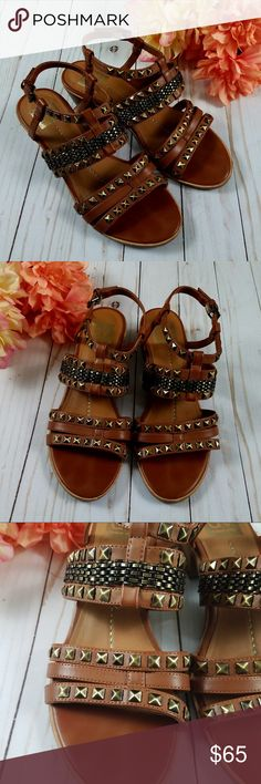 DOLCE VITA Brown Studded Heeled Strappy Sandals 8 DOLCE VITA Brown Studded Heeled Strappy Sandals 8'  So cute and trendy! Full of studs and straps. EUC.  Thank you for looking and please check out my closet! Dolce Vita Shoes Sandals