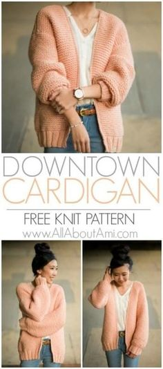 Knit this gorgeous chunky cardigan using bulky yarn and the relaxing garter stit., Knit this gorgeous chunky cardigan using bulky yarn and the relaxing garter stitch! This statement cardigan works up very quickly and is perfect for b. Knit Cardigan Pattern, Chunky Cardigan, Jacket Pattern, Shrug Pattern, Crochet Jacket, Diy Crochet Cardigan, Sweater Cardigan, Scarf Knit, Chunky Knits