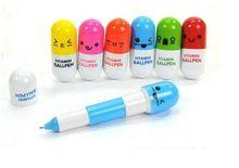 Envío gratis personalidad píldoras kawaii bolígrafo aprendizaje premios papelería estudiantes vitamina píldora, pluma de la novedad 50 unids/lote(China (Mainland))