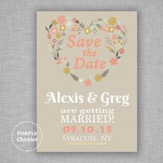 Coral and Tan Wedding Invite Engagement Party Save the Date Floral Heart Wreath Spring Fall Invitation Digital Invite JPEG file 300Dpi (28)
