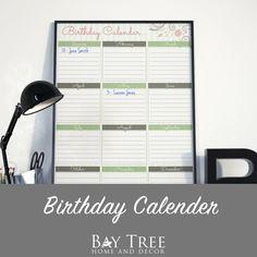 Birthday Calendar {Free Printable} Never forget another Birthday with this handy free printable.