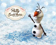 Olaf ❄️💙 hecho a mano, porcelana fría, torta, frozen