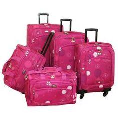 American Flyer Pink Fireworks 5-piece Spinner Luggage Set