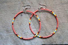 coral seed bead hoop earrings  heidi roland collection    http://heidiroland.bigcartel.com/product/seed-bead-hoop-earrings-coral