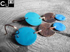 Enamelled earrings. Enamel on copper.