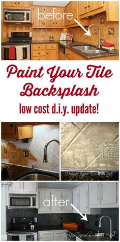 6 Smooth Tips AND Tricks: Unique Backsplash Kitchen wallpaper backsplash.Mirror Backsplash Mercury Glass backsplash around window paint colors.Backsplash Designs Above Stove. Kitchen Redo, Kitchen Backsplash, Kitchen Remodel, Painting Tile Backsplash, Painting Tiles, Hexagon Backsplash, Kitchen Cabinets, Mirror Backsplash, Beadboard Backsplash