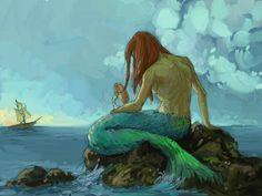 siren, artists, beach waves, mermaid art, ship, the little mermaid, the artist, artsi thing, disney