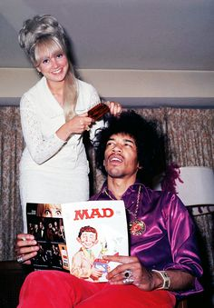 """vintagegal: """" Jimi Hendrix having his hair done while reading Mad Magazine c. 1968 """""""