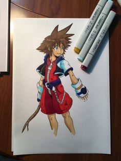Kingdom hearts sora design with ink and G-pen by #pigreak  #kingdom #hearts