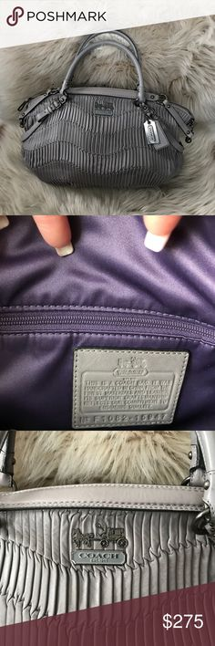 Coach Madison gathered leather satchel Great condition inside and out. This is the larger size. There is just a discoloration in the last photo. Please look at it carefully. Offers are welcome. Coach Bags Satchels