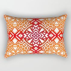 "Our Rectangular Pillow is the ultimate decorative accent to any room. Made from 100% spun polyester poplin fabric, these ""lumbar"" pillows feature a double-sided print Tribal Tiles II (Red, Orange, Brown) Geometric Tribal pattern with a lot of texture. Geometric / geometry pattern / mixed colors"