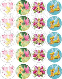 Tinkerbell And Friends, Peter Pan And Tinkerbell, Tinkerbell Fairies, Tinkerbell Party, Festa Thinker Bell, Tinkerbell Cake Topper, Diy Bottle Cap Crafts, Christmas Cupcake Toppers, Disney Princess Babies