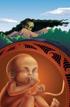Māori Origins of Tā Moko/Te Pū o Tā Moko:  Whaka-rūau-Moko, (god/atua of earthquakes and volcanic activity), the youngest child of Rangi-nui and Papa-tū-ānuku was responsible for the deep uneven grooves left within the surface terrain of his mother while still within her whare tangata. The trembling of his current scarred the earth creating the first sacred forms of Moko. Rūaumoko is also known as Rūaimoko, Whakarūaumoko also Rūaimokoroa.