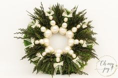 This Christmas decoration is made of preserved moss, thuja and different size globes - to last up to 7 years. Approx dimensions: Diameter 32cm depth 10cm you can find us at www.etsy.com/shop/ohmyjoyshop