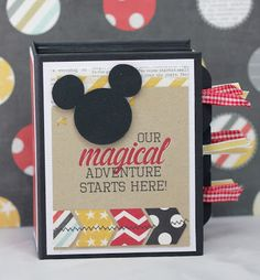 This was a super quick and easy mini album to make. It measures by for the cover and the pages are x I made the pa. Mini Photo Albums, Mini Albums Scrap, Mini Scrapbook Albums, Disney Scrapbook Pages, Scrapbooking Layouts, Project Life Scrapbook, Handmade Scrapbook, Disney Cards, Paper Crafts Origami