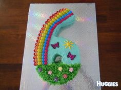 My daughter loves Rainbows & also wanted a number 6 for her birthday so I came up with this combination. All of the cake is edible except for the butterflies. I made the grass out of shredded coconut & just rubbed some green food colouring through it.