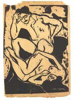Pareja Nacked en un sofá de Ernst Ludwig Kirchner (1880-1938, Germany)