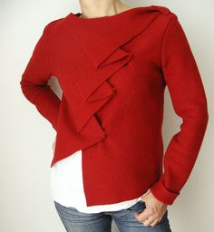Asymetric Cropped Wrap Boiled Wool Red Longsleeves Sweater