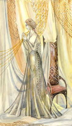 THE VALAR: Vairë by Olga Kukhtenkov. Entitled the Weaver. She is espoused to Námo, and lives with him at Mandos. She weaves the story of the World in her tapestries, which are draped all over the halls of Mandos.