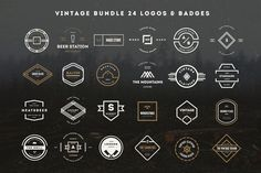 Check out 24 Vintage Logos & Badges Bundle by DesignDistrict on Creative Market