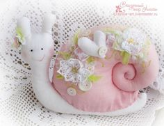 fabric stuffed snail in pink with heart & flowers