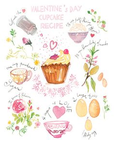 Valentine's day cupcake recipe illustration print - Bakery poster - Kitchen art - Watercolor - Love