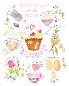 Valentine's day cupcake recipe illustration print - Bakery poster - Kitchen art - Watercolor - Love