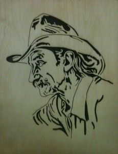Old Cowboy Scroll saw Fretwork Portrait Cutting. Dad would have loved this. Thanx for sharing.