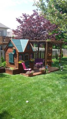Rated 5 out of 5 stars Kids Outdoor Play, Outdoor Play Spaces, Backyard For Kids, Backyard Projects, Outdoor Projects, Backyard Playhouse, Backyard Patio, Backyard Landscaping, Backyard Playground
