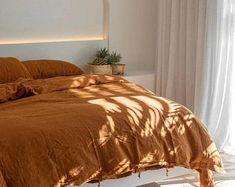 Orange duvet cover king   Etsy Bed Linen Sets, Linen Duvet, Cotton Bedding, Cotton Fabric, Comforter Cover, Duvet Cover Sizes, Duvet Sets, Orange Duvet Covers, Orange Bedding