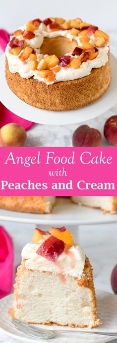 So light and fluffy, this almond angel cake with poached peaches and whipped cream makes a wonderful party dessert! Angle Food Cake Recipes, Dessert Recipes, Easter Recipes, Party Desserts, Just Desserts, Angel Food Cake, Angel Cake, Cake Cookies, Cupcake Cakes