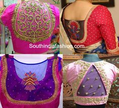 Embroidered netted back neck blouse designs for wedding silk sarees. Related PostsBlouse Designs with Transparent NecklineSheer Back Neck Blouse DesignsHigh Neck BlouseCollar Neck Net Blouse Designs Saree Blouse Neck Designs, Silk Saree Blouse Designs, Fancy Blouse Designs, Blouse Patterns, Net Saree Blouse, Silk Sarees, Boat Neck Saree Blouse, Saris, Blouse Designs Catalogue