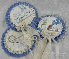 Blue cards, the Siri's Kitchen and Pion Design Palette paper collection Paper Decorations, Baby Shower Decorations, Paper Medallions, Paper Rosettes, Adult Crafts, Card Sketches, Flower Making, Vintage Paper, Paper Crafting