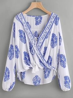 Shop Printed Lace Up Front Wrap Top online. SheIn offers Printed Lace Up Front Wrap Top & more to fit your fashionable needs. Resort Wear For Women, Tribal Top, Fringe Fabric, Wrap Blouse, Tie Blouse, Blouse Neck, Collar Blouse, Fashion News, Fashion Trends