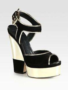 #Giuseppe Zanotti Metallic Leather and Suede Platform Sandals