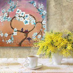 47 euro with free worldwide shipping - Painting Love birds SAKURA Landscape Cherry Blossom Tree of life nest impasto Enchanted Forest KSAVERA flowers Floral Art family