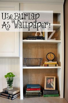 "Burlap ""Wallpaper"" How To. Great inexpensive (and not permanent) way to wallpaper in your home! I'd really like grasscloth in there but burlap is also very textual. Burlap Wallpaper, Fabric Wallpaper, Wallpaper Decor, Diy Tapete, Diy Spring, Sweet Home, Diy Casa, Burlap Crafts, Burlap Projects"