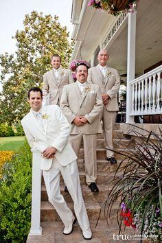San Diego Wedding: Groom in White Two-Button Notch Tuxedo & White Microfiber Shirt; Groomsmen in our Two-Button Tan Suit with Flat-Front Pants & White Microfiber Shirts; A Better Deal Tuxedos: 369 Bird Rock Avenue, La Jolla, CA 92037 www.abetterdealtuxedo.com Wedding Tux, Wedding Inspiration, Wedding Ideas, Tuxedos, San Diego Wedding, La Jolla, Groomsmen, Love Story, Real Weddings