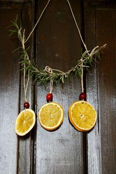 dried orange and cranberry Yule lanterns/hanging/ornaments - 5 Orange Potatoes