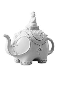 "Jonathan Adler 'Utopia Darjeeling' Teapot  -  A whimsically detailed elephant cast in glazed stoneware makes a clever teapot.  Approx. height: 9"" with lid. Approx. length: 11"". Glazed stoneware. By Jonathan Adler; imported."