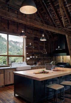 Dark blue kitchen island in country kitchen