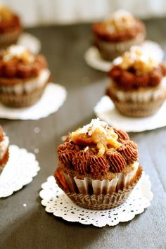 German Chocolate Cupcakes ... http://www.thecurvycarrot.com/2012/08/04/german-chocolate-cupcakes/#