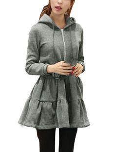 Allegra K Women's Rabbit Ear Hood Zip Up Drawstring Waist Coat Dress Gray (Size S / 4)